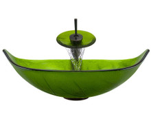 "Aurora A05 Green Glass Vessel Sink with Oil Rubbed Bronze Faucet & Pop Up Drain - 23.25"" x 14.5"""