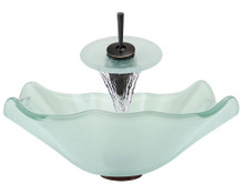 "Aurora G05 Frosted Frosted Glass Vessel Sink with Oil Rubbed Bronze Faucet & Pop Up Drain - 17"" x 17"""
