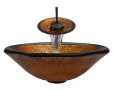 "Aurora A07 Bronze Foil Undertone Glass Vessel Sink with Oil Rubbed Bronze Faucet & Pop Up Drain - 17.75"" x 17.75"""