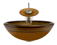 "Aurora A09 Orange Hand Painted Glass Vessel Sink with Brushed Nickel Faucet & Pop Up Drain - 16.5"" x 16.5"""