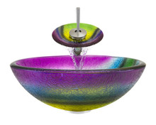 "Aurora A13 Rainbow Frosted Glass Vessel Sink with Brushed Nickel Faucet & Pop Up Drain - 16.5"" x 16.5"""