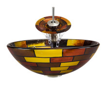 "Aurora A15 Red Yellow Brown Glass Vessel Sink with Brushed Nickel Faucet & Pop Up Drain - 16.5"" x 16.5"""