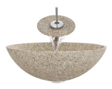 "Aurora S01 Tan Sand Granite Vessel Sink with Chrome Faucet & Grid Drain - 16.5"" x 16.5"""