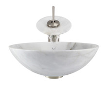 "Aurora S01 White Snow Granite Vessel Sink with Brushed Nickel Faucet & Grid Drain - 16.5"" x 16.5"""
