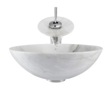 "Aurora S01 White Snow Granite Vessel Sink with Chrome Faucet & Grid Drain - 16.5"" x 16.5"""