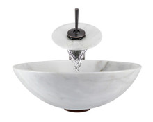 "Aurora S01 White Snow Granite Vessel Sink with Oil Rubbed Bronze Faucet & Grid Drain - 16.5"" x 16.5"""