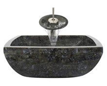 "Aurora S08 Blue Grey Granite Vessel Sink with Brushed Nickel Faucet & Grid Drain - 15.75"" x 15.75"""