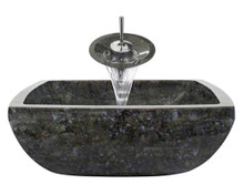 "Aurora S08 Blue Grey Granite Vessel Sink with Chrome Faucet & Grid Drain - 15.75"" x 15.75"""