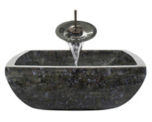 "Aurora S08 Blue Grey Granite Vessel Sink with Oil Rubbed Bronze Faucet & Grid Drain - 15.75"" x 15.75"""