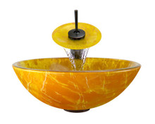 "Aurora A01 Orange Yellow Double Layer Glass Vessel Sink with Oil Rubbed Bronze Faucet & Grid Drain - 16.5"" x 16.5"""