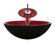"Aurora A02 Red Black Double Layer Glass Vessel Sink with Chrome Faucet & Grid Drain - 16.5"" x 16.5"""