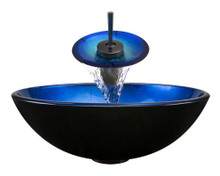 "Aurora A04 Blue Black Foil Undertone Glass Vessel Sink with Oil Rubbed Bronze Faucet & Grid Drain - 16.5"" x 16.5"""