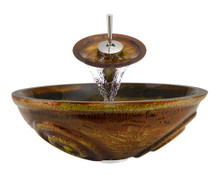 "Aurora A06 Brown Painted Glass Vessel Sink with Chrome Faucet & Grid Drain - 16.5"" x 16.5"""