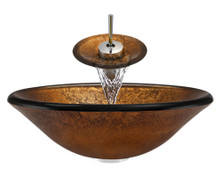 "Aurora A07 Bronze Foil Undertone Glass Vessel Sink with Chrome Faucet & Grid Drain - 17.75"" x 17.75"""