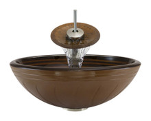 "Aurora A10 Brown Hand Painted Glass Vessel Sink with Brushed Nickel Faucet & Grid Drain - 16.5"" x 16.5"""