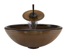 "Aurora A10 Brown Hand Painted Glass Vessel Sink with Oil Rubbed Bronze Faucet & Grid Drain - 16.5"" x 16.5"""