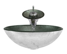 "Aurora A11 Silver Glass Vessel Sink with Chrome Faucet & Grid Drain - 16.5"" x 16.5"""