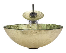 "Aurora A16 Gold Foil Undertone Glass Vessel Sink with Oil Rubbed Bronze Faucet & Grid Drain - 16.75"" x 16.75"""