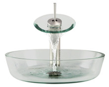 """Aurora G08 Clear Glass Vessel Sink with Brushed Nickel Faucet & Grid Drain - 16.5"""" x 16.5"""""""