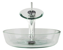"""Aurora G08 Clear Glass Vessel Sink with Chrome Faucet & Grid Drain - 16.5"""" x 16.5"""""""