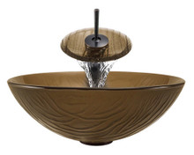 """Aurora A18 Brown Glass Vessel Sink with Oil Rubbed Bronze Faucet & Grid Drain - 16.63"""" x 16.63"""""""