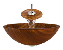 """Aurora A20 Brown Glass Vessel Sink with Brushed Nickel Faucet & Grid Drain - 16.38"""" x 16.38"""""""