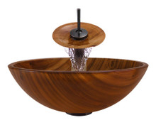 """Aurora A20 Brown Glass Vessel Sink with Oil Rubbed Bronze Faucet & Grid Drain - 16.38"""" x 16.38"""""""