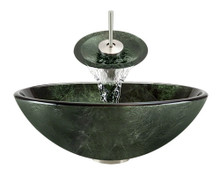 """Aurora A21 Green Glass Vessel Sink with Brushed Nickel Faucet & Grid Drain - 16.5"""" x 16.5"""""""