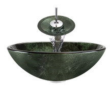 """Aurora A21 Green Glass Vessel Sink with Chrome Faucet & Grid Drain - 16.5"""" x 16.5"""""""