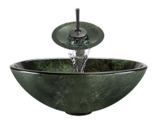 """Aurora A21 Green Glass Vessel Sink with Oil Rubbed Bronze Faucet & Grid Drain - 16.5"""" x 16.5"""""""