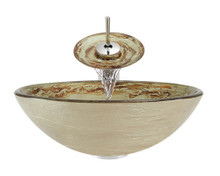 """Aurora A22 Green Red Foil Undertone Glass Vessel Sink with Chrome Faucet & Grid Drain - 16.5"""" x 16.5"""""""