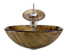 """Aurora A23 Bronze Foil Undertone Glass Vessel Sink with Brushed Nickel Faucet & Grid Drain - 16.5"""" x 16.5"""""""