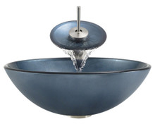 """Aurora A24 Blue Hand Painted Glass Vessel Sink with Brushed Nickel Faucet & Grid Drain - 16.5"""" x 16.5"""""""