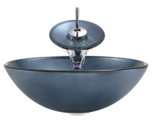 """Aurora A24 Blue Hand Painted Glass Vessel Sink with Chrome Faucet & Grid Drain - 16.5"""" x 16.5"""""""