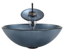 """Aurora A24 Blue Hand Painted Glass Vessel Sink with Oil Rubbed Bronze Faucet & Grid Drain - 16.5"""" x 16.5"""""""