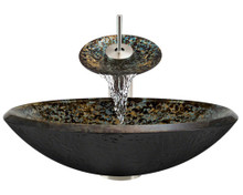 """Aurora A25 Brown Blue Green Hand Painted Glass Vessel Sink with Brushed Nickel Faucet & Grid Drain - 18"""" x 18"""""""