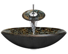 """Aurora A25 Brown Blue Green Hand Painted Glass Vessel Sink with Chrome Faucet & Grid Drain - 18"""" x 18"""""""