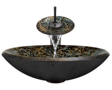 """Aurora A25 Brown Blue Green Hand Painted Glass Vessel Sink with Oil Rubbed Bronze Faucet & Grid Drain - 18"""" x 18"""""""