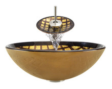 """Aurora A26 Bronze Foil Undertone Glass Vessel Sink with Brushed Nickel Faucet & Grid Drain - 16.5"""" x 16.5"""""""