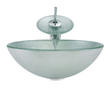 """Aurora A27 Frosted Foil Undertone Glass Vessel Sink with Chrome Faucet & Grid Drain - 16.5"""" x 16.5"""""""