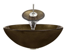 """Aurora A28 Bronze Foil Undertone Glass Vessel Sink with Brushed Nickel Faucet & Grid Drain - 16.5"""" x 16.5"""""""