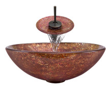 """Aurora A30 Pink Yellow Foil Undertone Glass Vessel Sink with Oil Rubbed Bronze Faucet & Grid Drain - 16.5"""" x 16.5"""""""