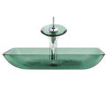 """Aurora G10 Emerald Forest Glass Vessel Sink with Chrome Faucet & Grid Drain - 22.38"""" x 14.25"""""""