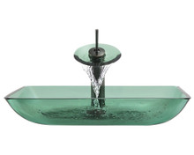 """Aurora G10 Emerald Forest Glass Vessel Sink with Oil Rubbed Bronze Faucet & Grid Drain - 22.38"""" x 14.25"""""""