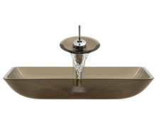 """Aurora G10 Taupe Desert Glass Vessel Sink with Chrome Faucet & Grid Drain - 22.38"""" x 14.25"""""""