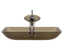 """Aurora G10 Taupe Desert Glass Vessel Sink with Oil Rubbed Bronze Faucet & Grid Drain - 22.38"""" x 14.25"""""""