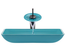 """Aurora G10 Turquoise Island Glass Vessel Sink with Oil Rubbed Bronze Faucet & Grid Drain - 22.38"""" x 14.25"""""""