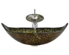 """Aurora A33 Green Bronze Foil Undertone Glass Vessel Sink with Brushed Nickel Faucet & Grid Drain - 23.25"""" x 14.75"""""""