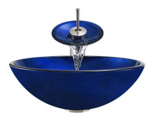 """Aurora A34 Blue Foil Undertone Glass Vessel Sink with Brushed Nickel Faucet & Grid Drain - 16.5"""" x 16.5"""""""