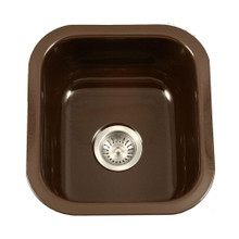 "Houzer PCB-1750 ES 17.32"" x 15.59"" Porcela Undermount Porcelain Enamel Steel Single Bowl Kitchen Sink in Espresso"